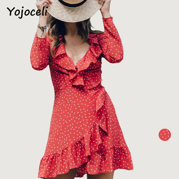 Yojoceli V neck ruffle star print red dress women Long sleeve chiffon wrap dress vestidos Autumn chic bohemian short dess