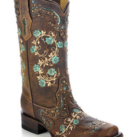 Corral Women's Studded Floral Embroidery Cowgirl Boots - Square Toe