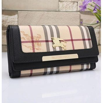 Burberry Hot Sale Women Leather Buckle Wallet Purse Black