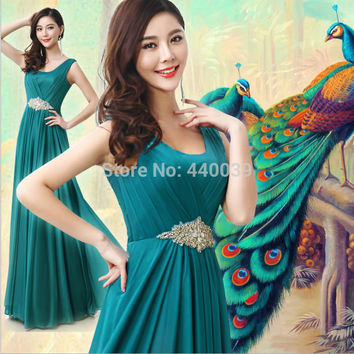 New Arrival Elegant Malachite Green Free Shipping Chiffon Draped Crystal Long evening party prom dresses FD22