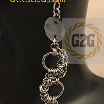Stainless Steel Chain Maille and Chinese Muscle Shell Earrings in Silver and Red chainmail jewelry