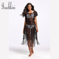 Women Sexy Bottom Tassels Swimwear Beach Mesh Dress Bikinis Cover Up Transparent Blouse 2017 One Piece Loose Clothes