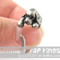 Cocker Spaniel Puppy Dog Animal Wrap Around Ring in Silver Sizes 4 - 9