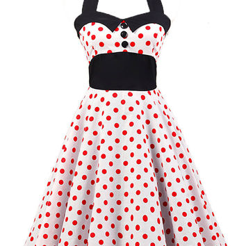 Red Polka Dot Printed Halter Sleeveless Mini Dress