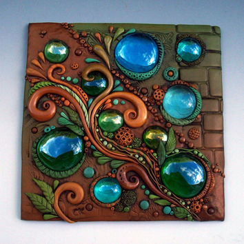 Autumn Breeze Mosaic Art Tile Polymer Clay and Glass
