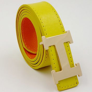 HERMES men and women casual belts Yellow
