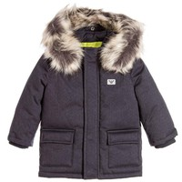 Armani Baby Boys Down Coat with Faux Fur Hood