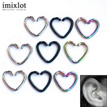 Stainless Steel Heart Ring Helix Cartilage Tragus Body Piercing 10 Pc Set