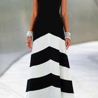 Black Halter Striped Maxi Dress
