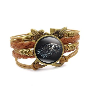 Game of Thrones Charm Bracelet Stark Wolf Glass