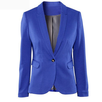 Solid Long-Sleeve Notched Button Blazer