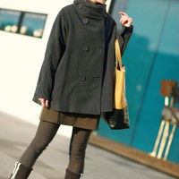 Gray Cape Wool coat double breasted button winter coat by MaLieb