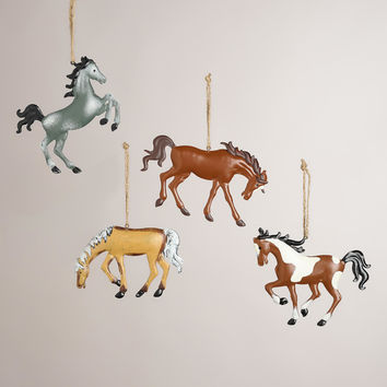Metal Horse Ornaments,  Set of 4 - World Market