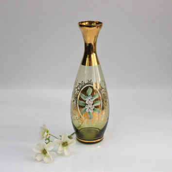 Bohemian Glass Decanter / Enamel Floral Design / Glamorous Barware