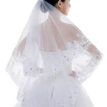 Bridal Veil  Two Layers White Tulle With Comb Palette Wedding Accessories Brand New Wedding Veils