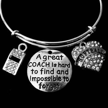 Softball Coach Jewelry Adjustable Bracelet A Great Coach is Hard to Find Rhinestone Whistle Expandable Silver Charm Bangle One Size Fits All Gift