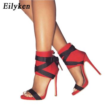 Eilyken 2018 New Summer Women Sandals Pumps Buckle Strap Women Sexy Party Red Wedding shoes Black White RED