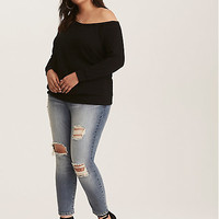 Black French Terry Knit Off Shoulder Sweatshirt