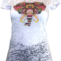 White Burnout Tee With Radiant & Colorful Elephant Print