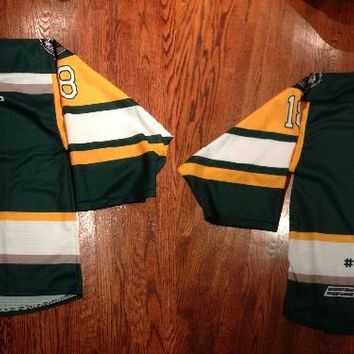 Humboldt Broncos jersey Yellow Green Double Stiched High Quanlity Polyester Ice Hockey Jersey