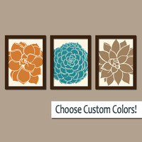 FLOWER Wall Art Artwork Orange Teal Brown Bedroom Bathroom Picture Floral Dahlia Bloom Petals Set of 3 Trio Prints Home Decor Three