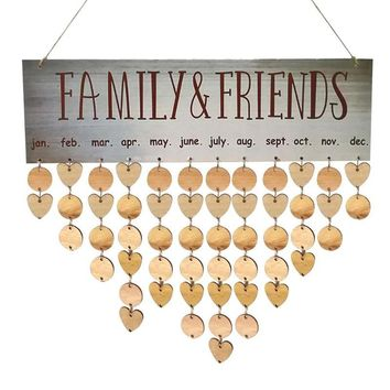Wooden Hanging Calender Birthday Reminder Board Family Date Planner Sign Family Friends Calendar Holiday Party Decors