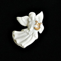 Vintage Angel Pin Lenox Christmas Angel Brooch Original Box White Porcelain Holiday Jewelry