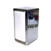 Vintage Napkin Dispenser Shiny Silver Chrome Rectangle Retro Restaurant Diner Serviette Holder