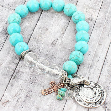WORN TWO-TONE WESTERN CHARM CLUSTER TURQUOISE BEADED STRETCH BRACELET