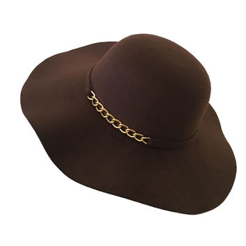 Chained To Love Wool Floppy Hat in Brown