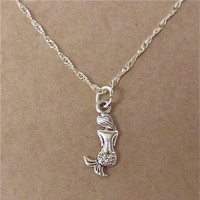 Nautical Mermaid Charm Necklace w/ Silver Plated Twisted Chain Necklace