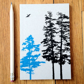 Hemlock Trees Journal, small sketch book with blank, recycled white paper, pocket size