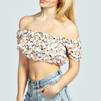 Emma Off The Shoulder Frill Froral Crop Top