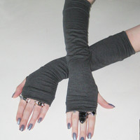Somber Shadow - Charcoal gray arm warmers fingerless gloves Classy Simple Classic cotton knit arm cozies handwarmers gothic nior dark gypsy