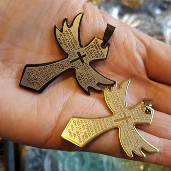 2 stainless steel cross pendants angel wing charms 30-50mm black gold unisex spanish lords prayer mexican jewelry