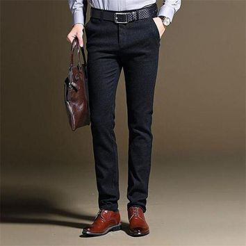DCCKON3 fashionMens thickened elasticity business pencil pants casual solid color straight type slim pants men for