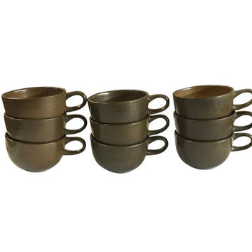 Set of Heath Teacups, Warm Browns and Tan, Vintage Pottery, Coffee Cups, Retro Dining, MCM Home Decor, Mid Century Design
