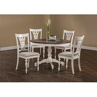 5753 Bayberry/Embassy 5-Piece Round Dining Set - White - Free Shipping!