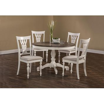 5753 Bayberry/Embassy 5-Piece Round Dining Set - White