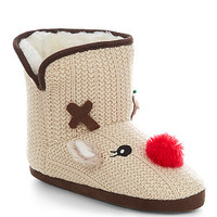 Teens Stone Reindeer Boot Slippers