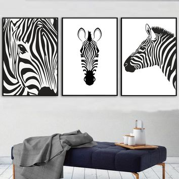 Black And White Scandinavian Zebra Stripes Pictures Modern Nordic Abstract Wall Poster Art Print Canvas Painting For Home Decor