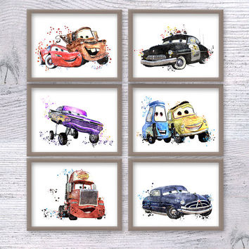 Disney Cars poster Set of 6 Cars watercolor print Disney wall decor Baby shower gift Child room wall art Kids room decor Disney poster V458