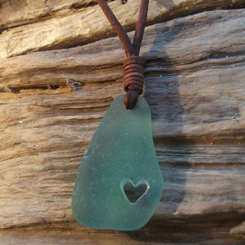 Sea glass jewelry, Aqua Carved Heart Sea Glass Necklace -Scottish Seaglass-Surfers Necklace-Beachwear.