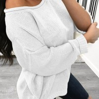 WhiteOne Off Shoulder Long Sleeve Casual Sweaters Pullover