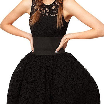 Black Premium Pom Dress with Crochet Lace
