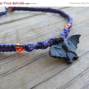 15% off CIJ SALE Hemp Necklace Macrame Halloween Bat Orange Glow in the Dark Beads