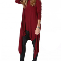 Red Long Sleeve Asymmetrical Dress