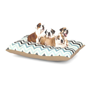 "Heidi Jennings ""Blue Chevron"" Gray Aqua Dog Bed"