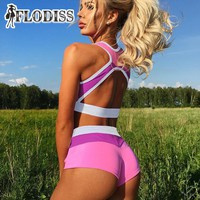 FLODISS 2017 Summer Gyms Yogaes Set Runnings Tracksuit for Women Fitness Workout Outfit Sweatsuit Sporting Suit with Bra