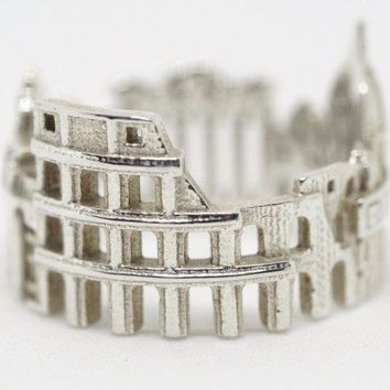 Rome Cityscape Sterling Silver Statement Ring - Wearable Art!